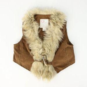 Children's Place Girls Faux Leather Fur Tan Vest